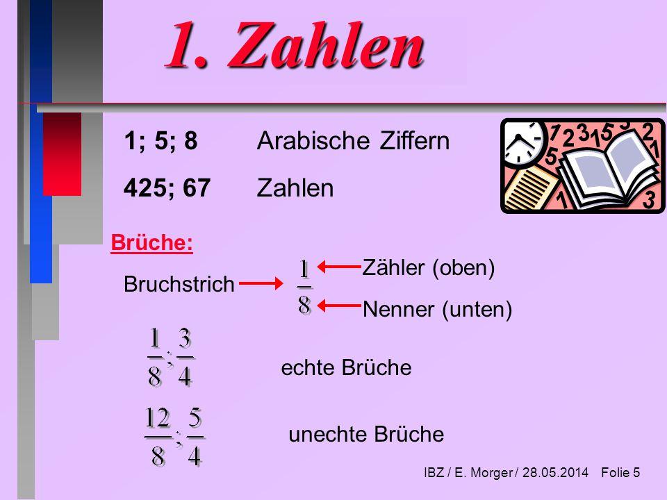 IBZ / E. Morger / 28.05.2014 Folie 4 Vorschau Teil 2 1. Wahrscheinlichkeit 2. Funktionen 3. Grafische Darstellungen 4. Häufigkeiten 5. Regressionsrech