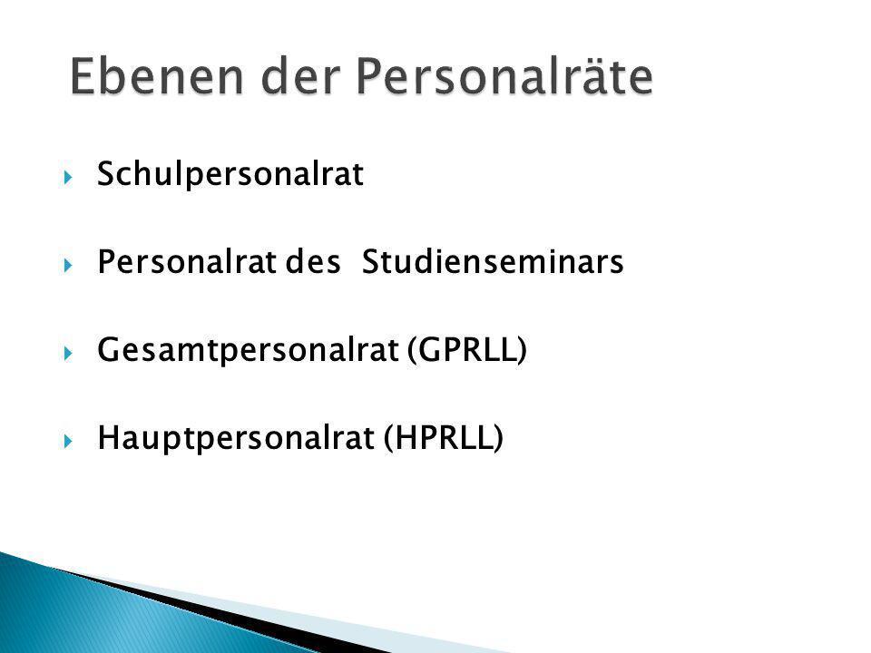 Schulpersonalrat Personalrat des Studienseminars Gesamtpersonalrat (GPRLL) Hauptpersonalrat (HPRLL)