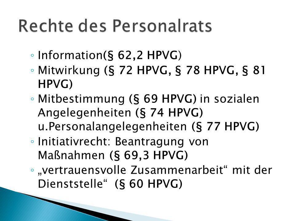Information(§ 62,2 HPVG) Mitwirkung (§ 72 HPVG, § 78 HPVG, § 81 HPVG) Mitbestimmung (§ 69 HPVG) in sozialen Angelegenheiten (§ 74 HPVG) u.Personalange
