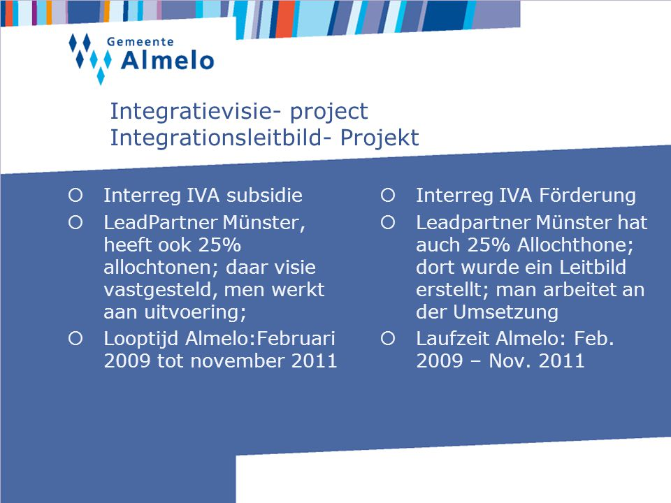 Structuur van Integratievisie- project Struktur des Integrationsleitbildes - Projekt Binationale regiegroep Kerngroep projectleiders Munster en Almelo Projectstructuren in Munster en Almelo Binationale Regiegruppe Kerngruppe Projektleiter Münster und Almelo Projektstrukturen in Münster und Almelo