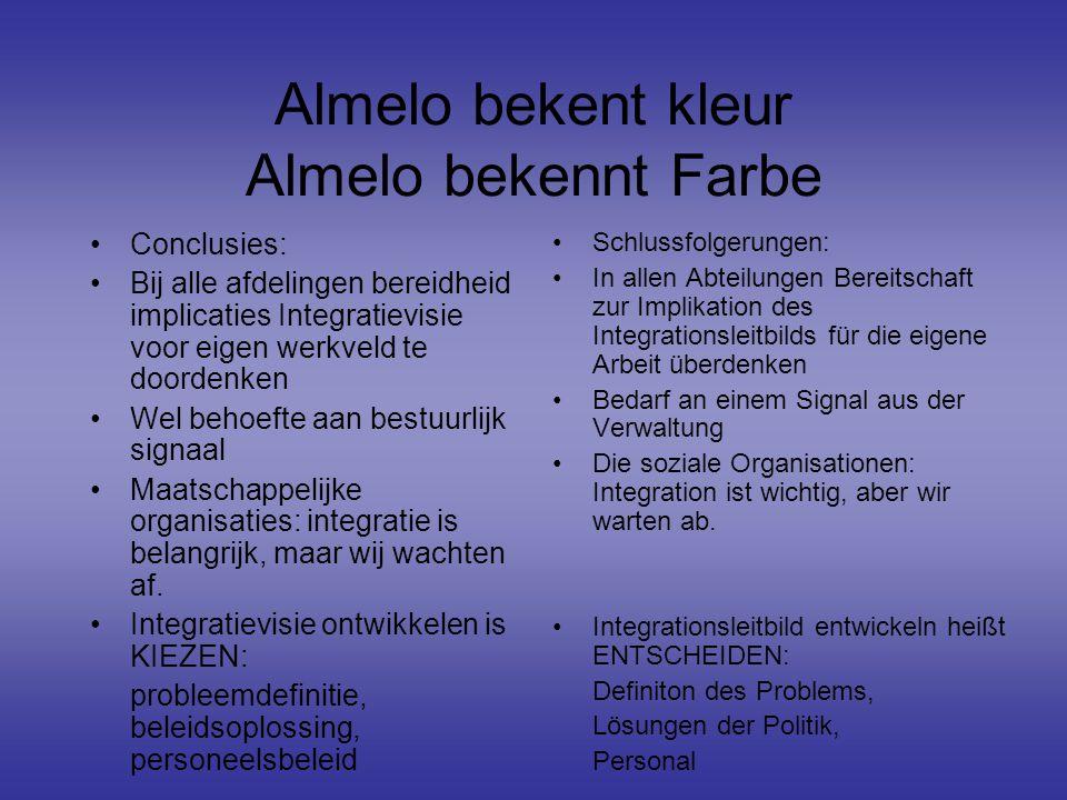 Almelo bekent kleur Almelo bekennt Farbe Conclusies: Bij alle afdelingen bereidheid implicaties Integratievisie voor eigen werkveld te doordenken Wel behoefte aan bestuurlijk signaal Maatschappelijke organisaties: integratie is belangrijk, maar wij wachten af.