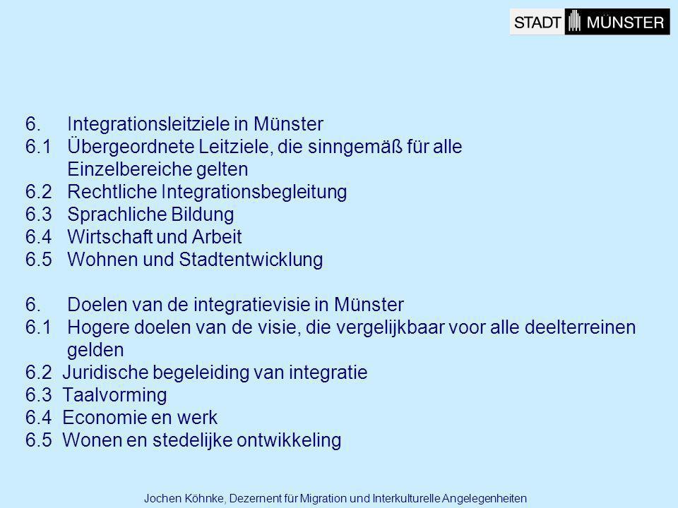 6. Integrationsleitziele in Münster 6.1 Übergeordnete Leitziele, die sinngemäß für alle Einzelbereiche gelten 6.2 Rechtliche Integrationsbegleitung 6.