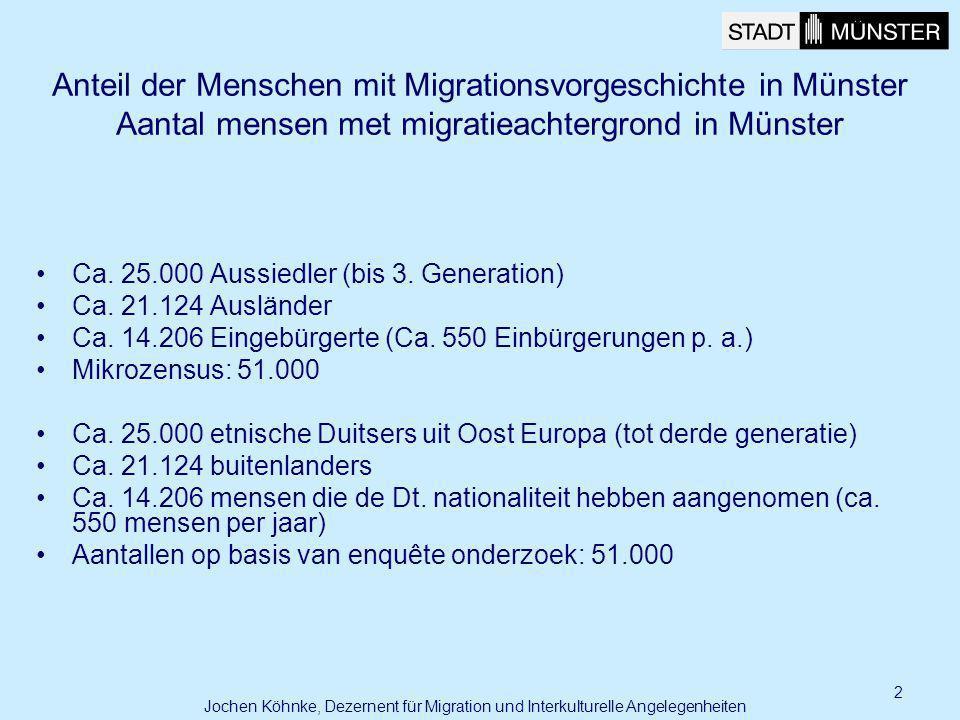 2 Anteil der Menschen mit Migrationsvorgeschichte in Münster Aantal mensen met migratieachtergrond in Münster Ca. 25.000 Aussiedler (bis 3. Generation