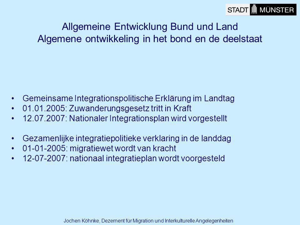 Allgemeine Entwicklung Bund und Land Algemene ontwikkeling in het bond en de deelstaat Gemeinsame Integrationspolitische Erklärung im Landtag 01.01.20