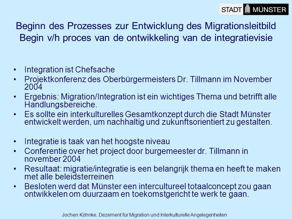 Beginn des Prozesses zur Entwicklung des Migrationsleitbild Begin v/h proces van de ontwikkeling van de integratievisie Integration ist Chefsache Proj