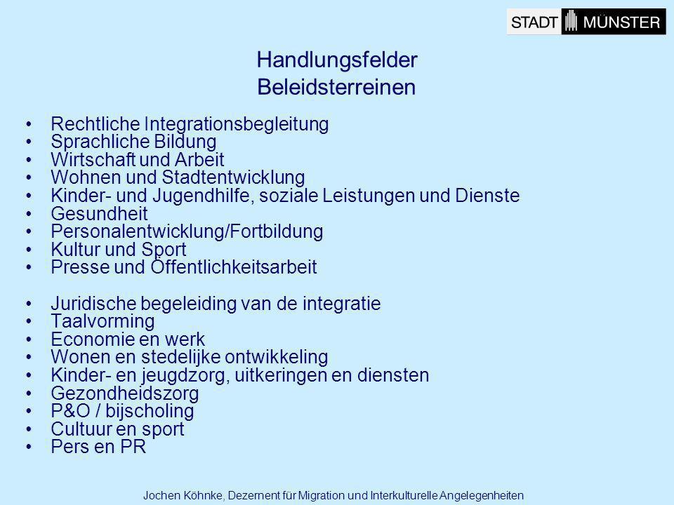 Ist Grundlage für die Umsetzung Kein Gesetz sondern Hilfe zur Umsetzung Soll der strategischen Planung dienen Akzeptanz des Masterplans zu einer gemeinsamen Vorwärtsstrategie Es werden mit dem Masterplan keine Projekte bewilligt Is basis voor de realisatie Geen wet, wel ondersteuning voor de realisatie Moet dienen voor de strategische planning Acceptatie van het masterplan als een gezamenlijke vooruitgangsstrategie Er worden met het Masterplan geen projecten goedgekeurd Jochen Köhnke, Dezernent für Migration und Interkulturelle Angelegenheiten Masterplan zur Umsetzung des Migrationsleitbildes Masterplan ter realisatie van de integratievisie