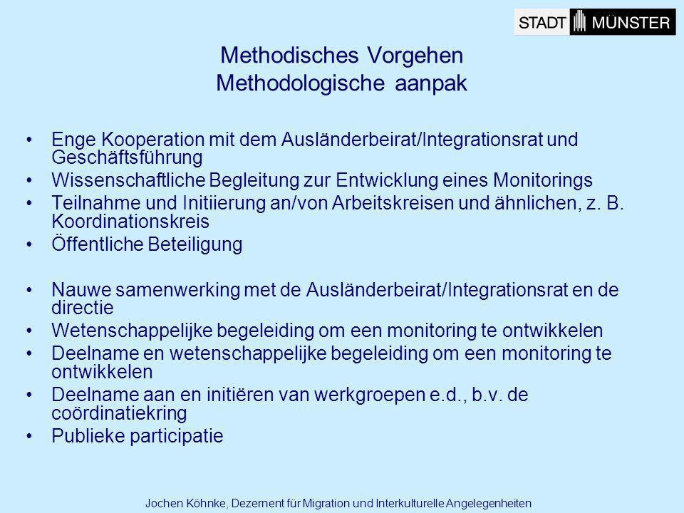 Methodisches Vorgehen Methodologische aanpak Enge Kooperation mit dem Ausländerbeirat/Integrationsrat und Geschäftsführung Wissenschaftliche Begleitun