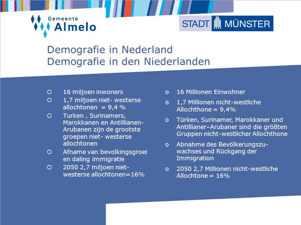 Demografie in Nederland Demografie in den Niederlanden 16 miljoen inwoners 1,7 miljoen niet- westerse allochtonen = 9,4 % Turken, Surinamers, Marokkanen en Antillianen- Arubanen zijn de grootste groepen niet- westerse allochtonen Afname van bevolkingsgroei en daling immigratie 2050 2,7 miljoen niet- westerse allochtonen=16% o16 Millionen Einwohner o1,7 Millionen nicht-westliche Allochthone = 9,4% oTürken, Surinamer, Marokkaner und Antillianer–Arubaner sind die größten Gruppen nicht-westlicher Allochthone oAbnahme des Bevölkerungszu- wachses und Rückgang der Immigration o2050 2,7 Millionen nicht-westliche Allochtone = 16%