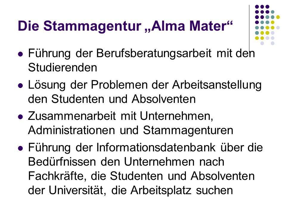 Die Stammagentur Alma Mater Führung der Berufsberatungsarbeit mit den Studierenden Lösung der Problemen der Arbeitsanstellung den Studenten und Absolv