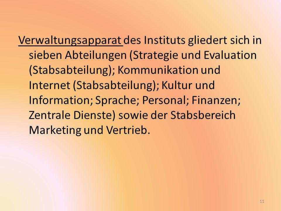Verwaltungsapparat des Instituts gliedert sich in sieben Abteilungen (Strategie und Evaluation (Stabsabteilung); Kommunikation und Internet (Stabsabteilung); Kultur und Information; Sprache; Personal; Finanzen; Zentrale Dienste) sowie der Stabsbereich Marketing und Vertrieb.