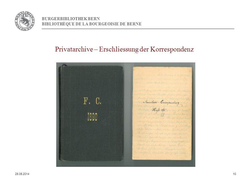 BURGERBIBLIOTHEK BERN BIBLIOTHÈQUE DE LA BOURGEOISIE DE BERNE Privatarchive – Erschliessung der Korrespondenz 28.05.201410