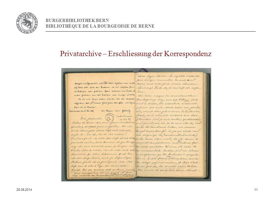 BURGERBIBLIOTHEK BERN BIBLIOTHÈQUE DE LA BOURGEOISIE DE BERNE Privatarchive – Erschliessung der Korrespondenz 28.05.201411