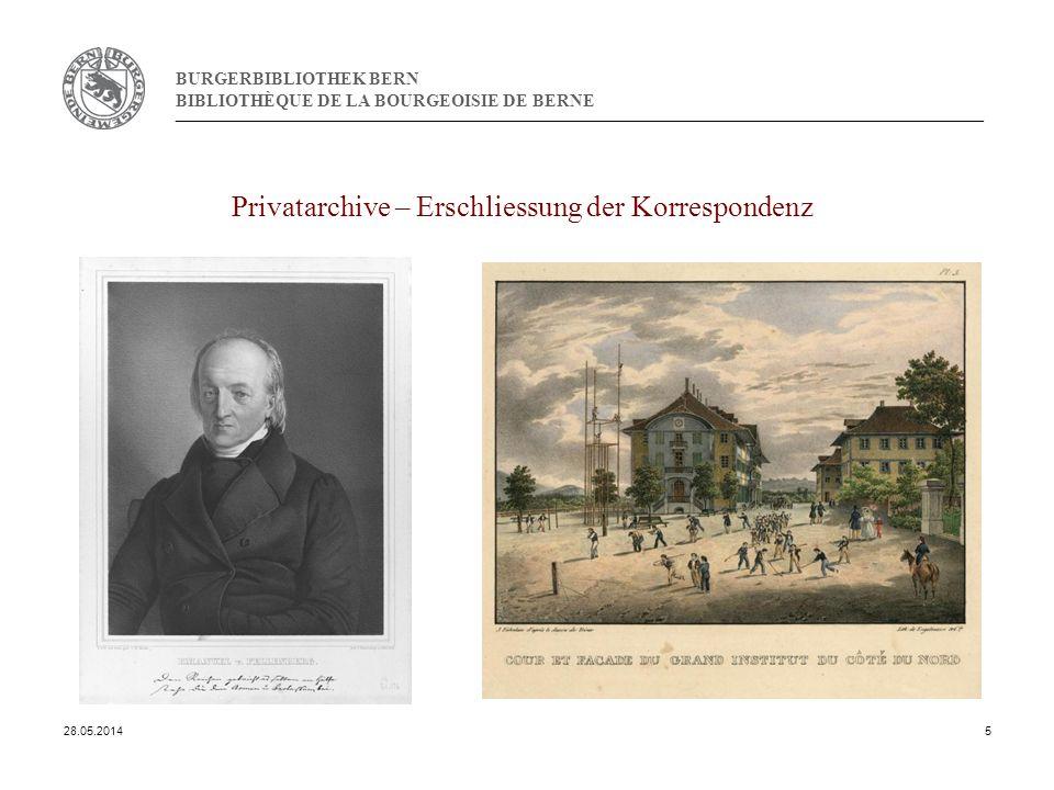 BURGERBIBLIOTHEK BERN BIBLIOTHÈQUE DE LA BOURGEOISIE DE BERNE Privatarchive – Erschliessung der Korrespondenz 28.05.20145