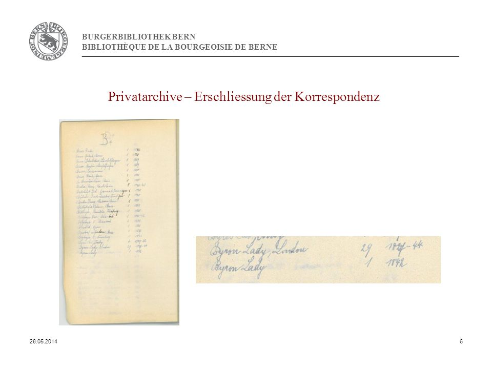 BURGERBIBLIOTHEK BERN BIBLIOTHÈQUE DE LA BOURGEOISIE DE BERNE Privatarchive – Erschliessung der Korrespondenz 28.05.20146
