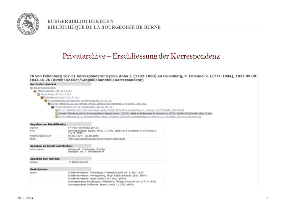 BURGERBIBLIOTHEK BERN BIBLIOTHÈQUE DE LA BOURGEOISIE DE BERNE Privatarchive – Erschliessung der Korrespondenz 28.05.20147