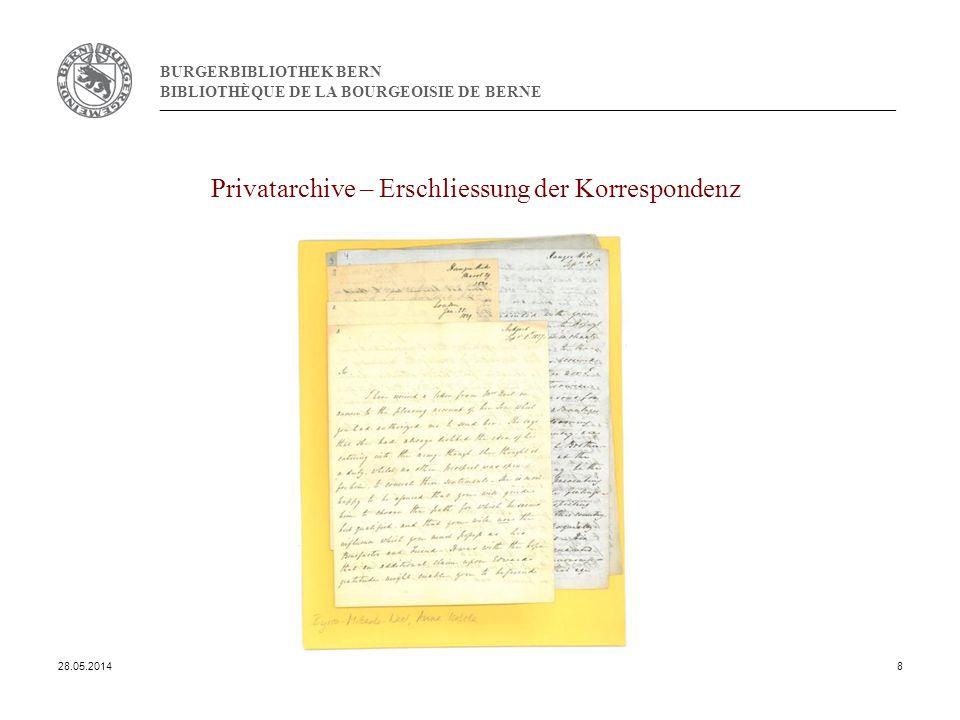BURGERBIBLIOTHEK BERN BIBLIOTHÈQUE DE LA BOURGEOISIE DE BERNE Privatarchive – Erschliessung der Korrespondenz 28.05.20148