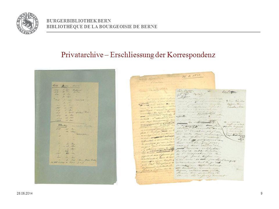 BURGERBIBLIOTHEK BERN BIBLIOTHÈQUE DE LA BOURGEOISIE DE BERNE Privatarchive – Erschliessung der Korrespondenz 28.05.20149