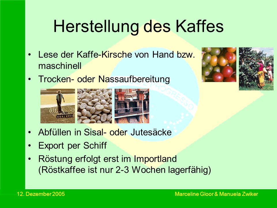 12. Dezember 2005 Kaffeepreis in Europa Marceline Gloor & Manuela Zwiker