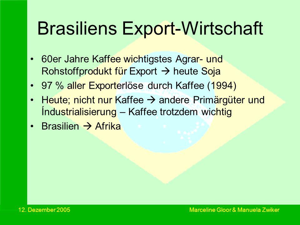 12. Dezember 2005 Brasiliens Export-Wirtschaft 60er Jahre Kaffee wichtigstes Agrar- und Rohstoffprodukt für Export heute Soja 97 % aller Exporterlöse