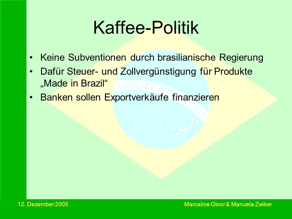 12. Dezember 2005 Kaffee-Politik Keine Subventionen durch brasilianische Regierung Dafür Steuer- und Zollvergünstigung für Produkte Made in Brazil Ban
