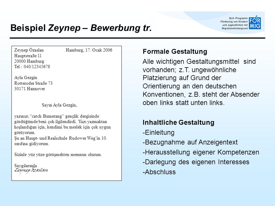 Beispiel Zeynep – Bewerbung tr.Zeynep Özaslan Hamburg, 17.