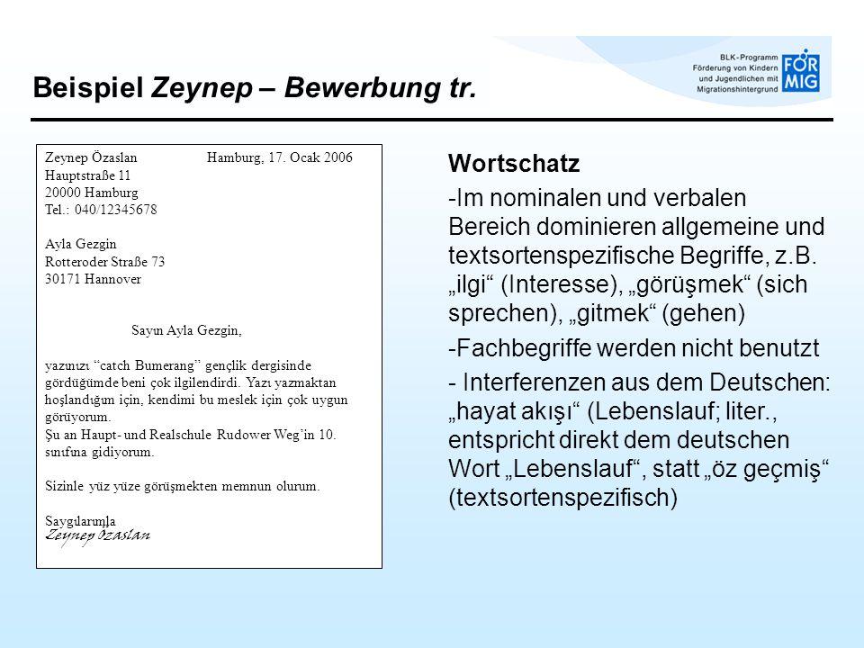 Beispiel Zeynep – Bewerbung tr. Wortschatz -Im nominalen und verbalen Bereich dominieren allgemeine und textsortenspezifische Begriffe, z.B. ilgi (Int