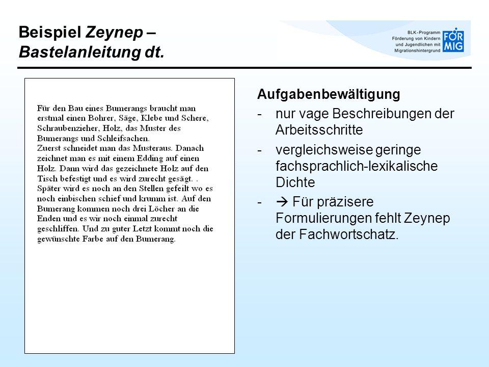 Beispiel Zeynep – Bastelanleitung dt. Aufgabenbewältigung -nur vage Beschreibungen der Arbeitsschritte -vergleichsweise geringe fachsprachlich-lexikal
