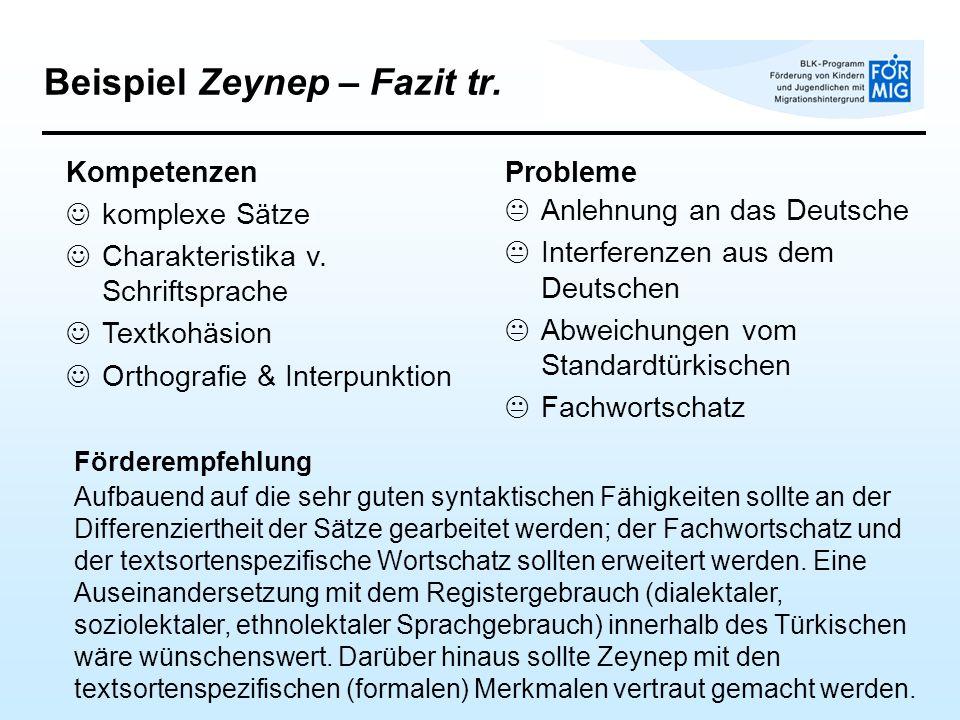 Beispiel Zeynep – Fazit tr. Förderempfehlung Aufbauend auf die sehr guten syntaktischen Fähigkeiten sollte an der Differenziertheit der Sätze gearbeit