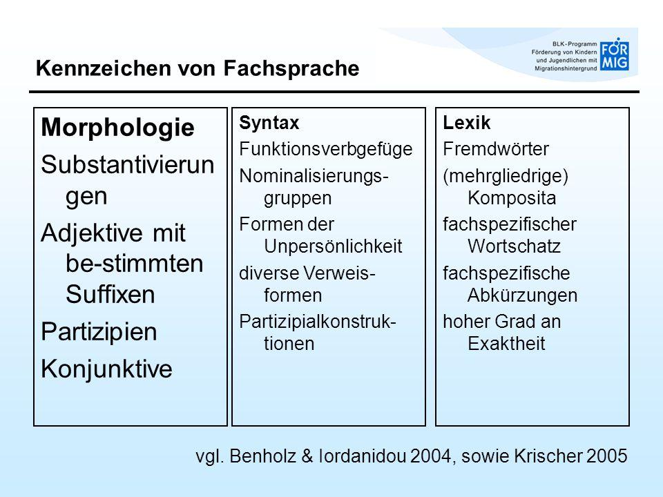 Kennzeichen von Fachsprache Morphologie Substantivierun gen Adjektive mit be-stimmten Suffixen Partizipien Konjunktive Syntax Funktionsverbgefüge Nomi