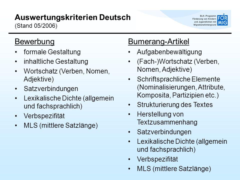 Auswertungskriterien Deutsch (Stand 05/2006) Bewerbung formale Gestaltung inhaltliche Gestaltung Wortschatz (Verben, Nomen, Adjektive) Satzverbindunge