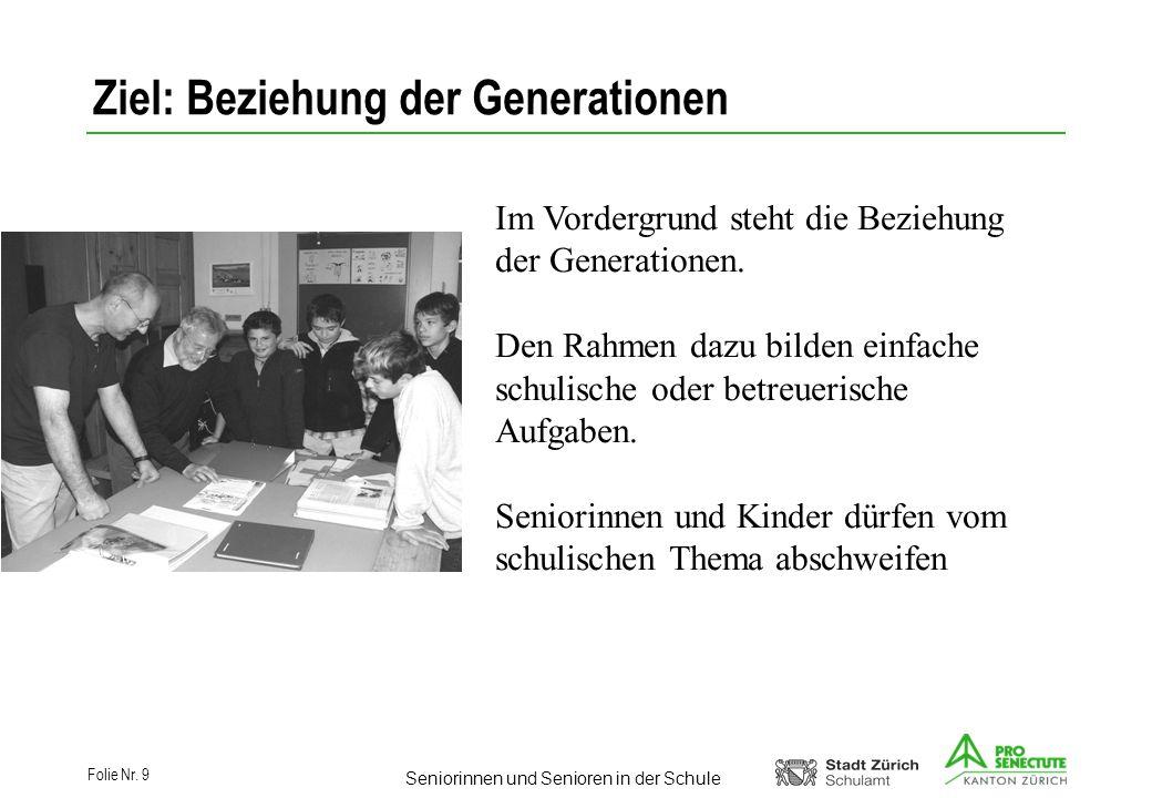 Seniorinnen und Senioren in der Schule Folie Nr. 9 Ziel: Beziehung der Generationen Im Vordergrund steht die Beziehung der Generationen. Den Rahmen da