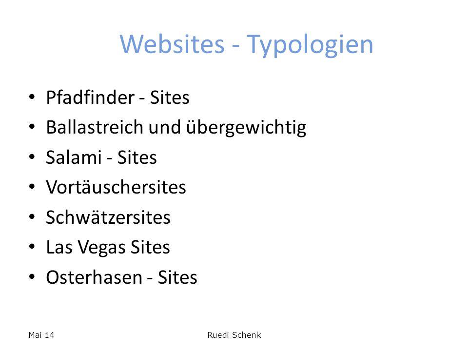 Websites - Typologien Pfadfinder - Sites Ballastreich und übergewichtig Salami - Sites Vortäuschersites Schwätzersites Las Vegas Sites Osterhasen - Si