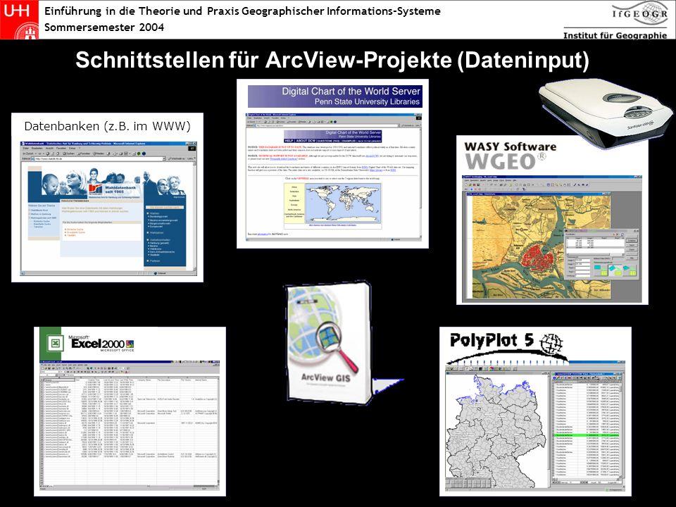 Einführung in die Theorie und Praxis Geographischer Informations-Systeme Sommersemester 2004 Schnittstellen für ArcView-Projekte (Dateninput) Datenbanken (z.B.