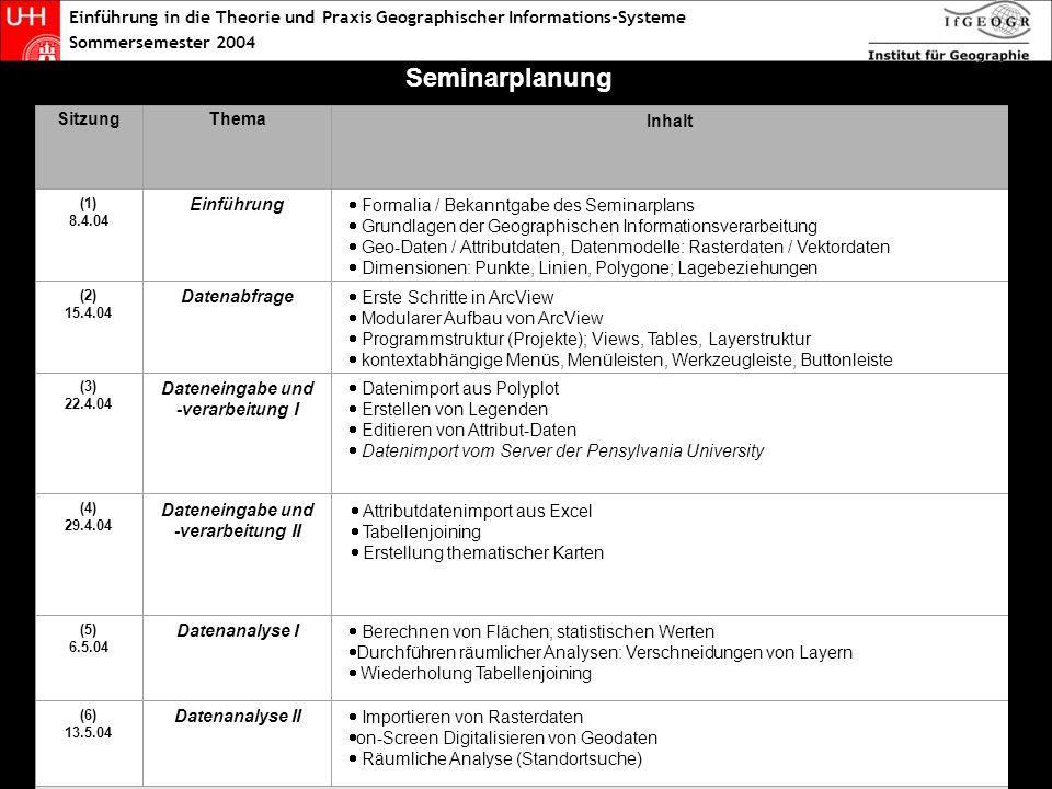 Einführung in die Theorie und Praxis Geographischer Informations-Systeme Sommersemester 2004 Seminarplan reloaded SitzungThema Inhalt (1) 8.4.04 Einführung Formalia / Bekanntgabe des Seminarplans Grundlagen der Geographischen Informationsverarbeitung Geo-Daten / Attributdaten, Datenmodelle: Rasterdaten / Vektordaten Dimensionen: Punkte, Linien, Polygone; Lagebeziehungen (2) 15.4.04 Datenabfrage Erste Schritte in ArcView Modularer Aufbau von ArcView Programmstruktur (Projekte); Views, Tables, Layerstruktur kontextabhängige Menüs, Menüleisten, Werkzeugleiste, Buttonleiste (3) 22.4.04 Dateneingabe und -verarbeitung I Datenimport aus Polyplot Erstellen von Legenden Editieren von Attribut-Daten Datenimport vom Server der Pensylvania University (4) 29.4.04 Dateneingabe und -verarbeitung II (5) 6.5.04 Datenanalyse I Berechnen von Flächen; statistischen Werten Durchführen räumlicher Analysen: Verschneidungen von Layern Wiederholung Tabellenjoining (6) 13.5.04 Datenanalyse II Importieren von Rasterdaten on-Screen Digitalisieren von Geodaten Räumliche Analyse (Standortsuche) 20.5.04 Christi Himmelfahrt (7) 27.5.04 Fragestunde / Wiederholung Fragen zu den bisher erlernten Funktionen Wiederholung: Dateneingabe, Verarbeitung, Analyse, Präsentation 3.6.04 Pfingstwoche (8) 10.6.04 Daten-präsentation Aufbereitung von Layouts und Datenexport Präsentationsmöglichkeiten von GIS-Analysen Exkurs: Kartenerstellung / Ausgabeoptimierung mit Freehand9 (9) 17.6.04 Praktische Anwendungs- beispiele Vorstellung verschiedener GIS-Systeme aus der Praxis: - Geomarketing und –controlling bei Banken und Sparkassen - Standortoptimierung für Einzelhandelsunternehmen Übung im Umgang mit GIS-Projekten (10) 24.6.04 Erstellung eines eigenen GIS- Projektes Aufbau eines eigenen GIS-Projektes Hamburg GIS Exkurs: Scannen & Georeferenzieren mit WGEO Exkurs: Datenimport aus dem Internet Vorbesprechung der Hausaufgabe (11) 1.7.04 (12) 8.7.04 Abschluss- diskussion Diskussion: Möglichkeiten und Grenzen des Einsatz