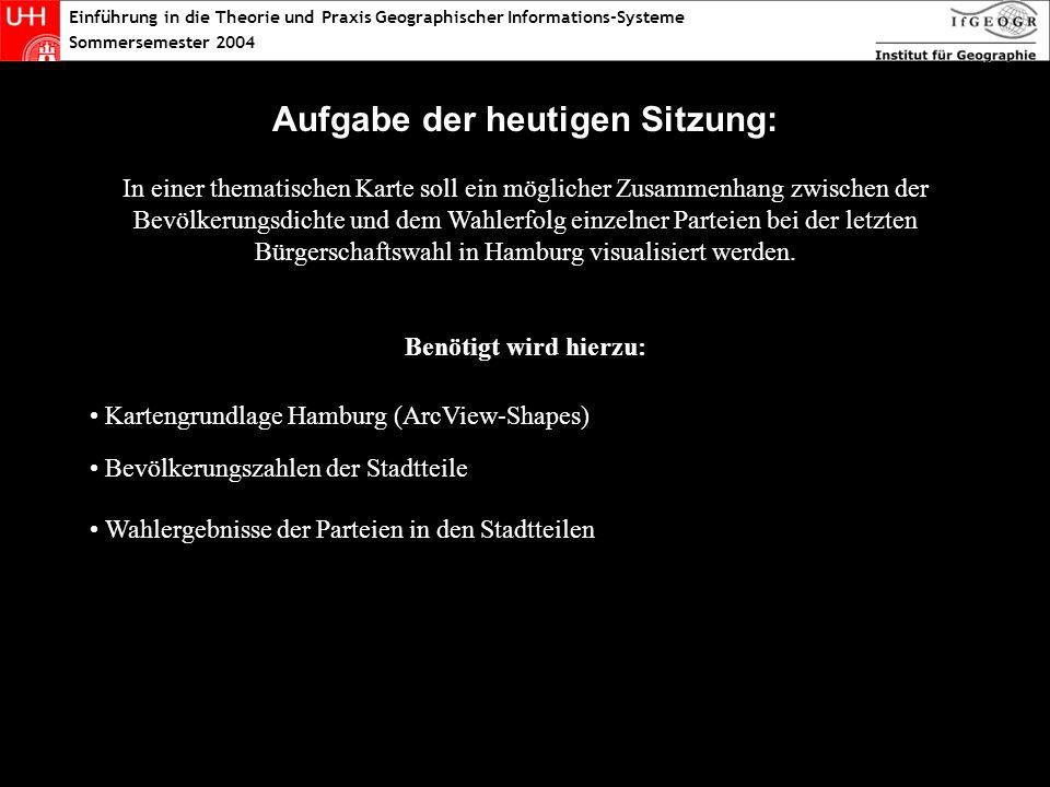 Aufgabe der heutigen Sitzung: In einer thematischen Karte soll ein möglicher Zusammenhang zwischen der Bevölkerungsdichte und dem Wahlerfolg einzelner Parteien bei der letzten Bürgerschaftswahl in Hamburg visualisiert werden.