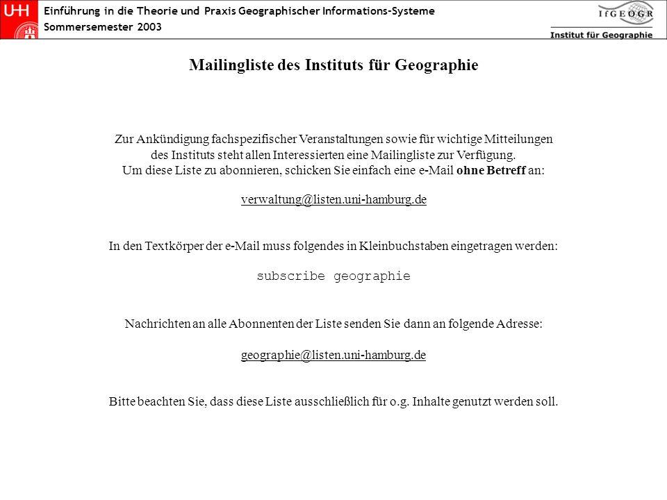 Einführung in die Theorie und Praxis Geographischer Informations-Systeme Sommersemester 2003 Mailingliste des Instituts für Geographie Zur Ankündigung