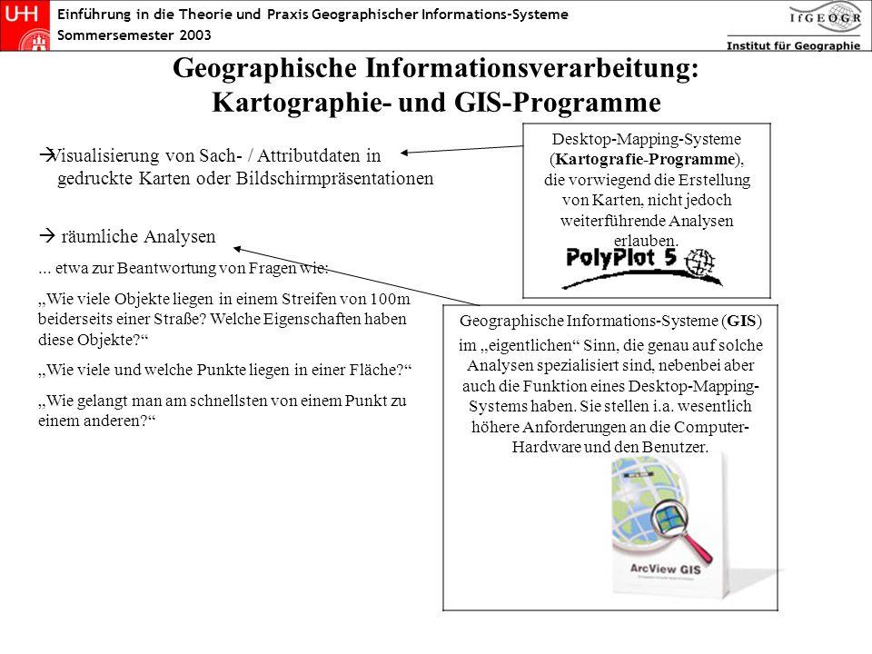 Visualisierung von Sach- / Attributdaten in gedruckte Karten oder Bildschirmpräsentationen räumliche Analysen... etwa zur Beantwortung von Fragen wie: