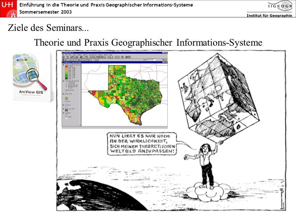 Einführung in die Theorie und Praxis Geographischer Informations-Systeme Sommersemester 2003 Geo-Datenformate: Raster- und Vektor-Systeme Vektor-Systeme Die einzelnen Objekte werden durch Grenzlinien beschrieben Nahezu beliebige Auflösung (Vergrößerung) ist möglich Jedes Element/Objekt hat eine Verbindung zu beschreibenden Daten (Attributdaten) Raster-Systeme Der Datensatz setzt sich aus lauter einzelnen Zellen (Pixeln) zusammen Die mögliche Auflösung hängt direkt von der Größe der Zellen ab Jede Zelle bekommt einen Wert (Grauwert oder Farbe) zugeordnet Geographische Informations-Systeme können generell in zwei Schienen eingeteilt werden: