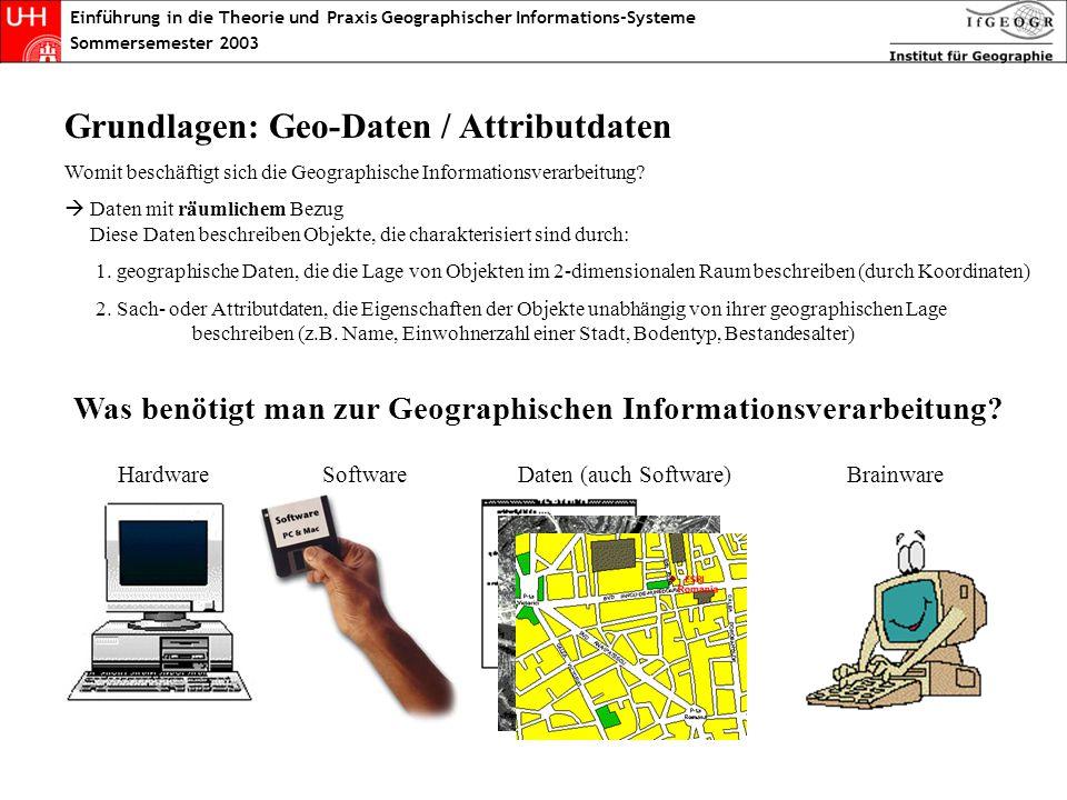 Geo/Attributdaten Einführung in die Theorie und Praxis Geographischer Informations-Systeme Sommersemester 2003 Grundlagen: Geo-Daten / Attributdaten W