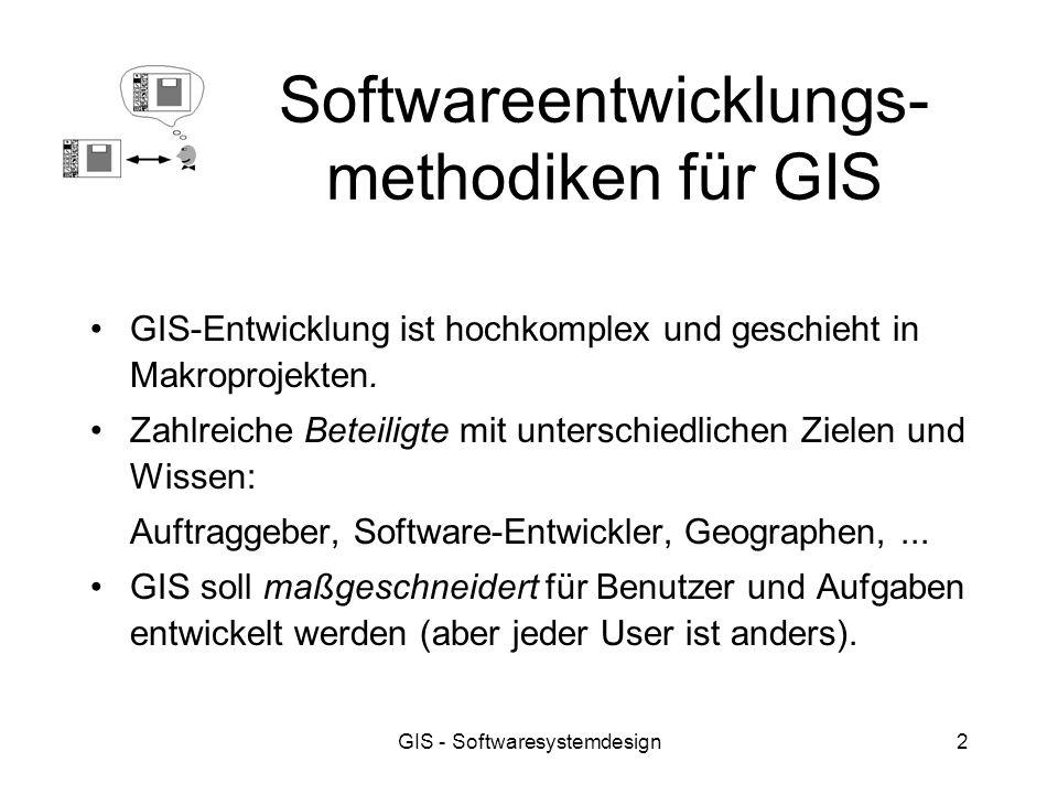 GIS - Softwaresystemdesign2 Softwareentwicklungs- methodiken für GIS GIS-Entwicklung ist hochkomplex und geschieht in Makroprojekten. Zahlreiche Betei