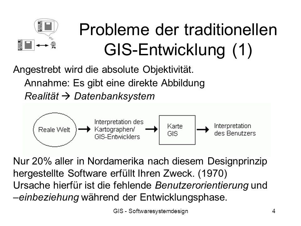 GIS - Softwaresystemdesign4 Probleme der traditionellen GIS-Entwicklung (1) Angestrebt wird die absolute Objektivität. Annahme: Es gibt eine direkte A