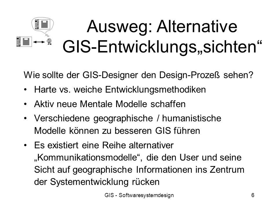 GIS - Softwaresystemdesign6 Ausweg: Alternative GIS-Entwicklungssichten Wie sollte der GIS-Designer den Design-Prozeß sehen? Harte vs. weiche Entwickl