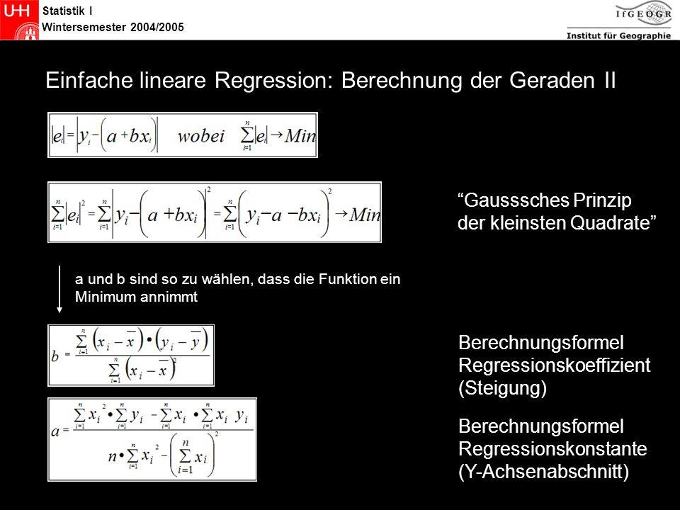 Statistik I Wintersemester 2004/2005 Statistik Regressionsgerade – Berechungsbeispiele SPSS Berechnung von Regressionskoeffizient und -konstante sowie der Modellgüte: Analysieren – Regression – Linear Excel Berechnung der beiden Parameter per Hand: