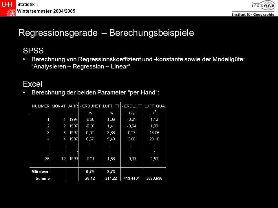 Statistik I Wintersemester 2004/2005 Statistik Regressionsgerade – Berechungsbeispiele SPSS Berechnung von Regressionskoeffizient und -konstante sowie