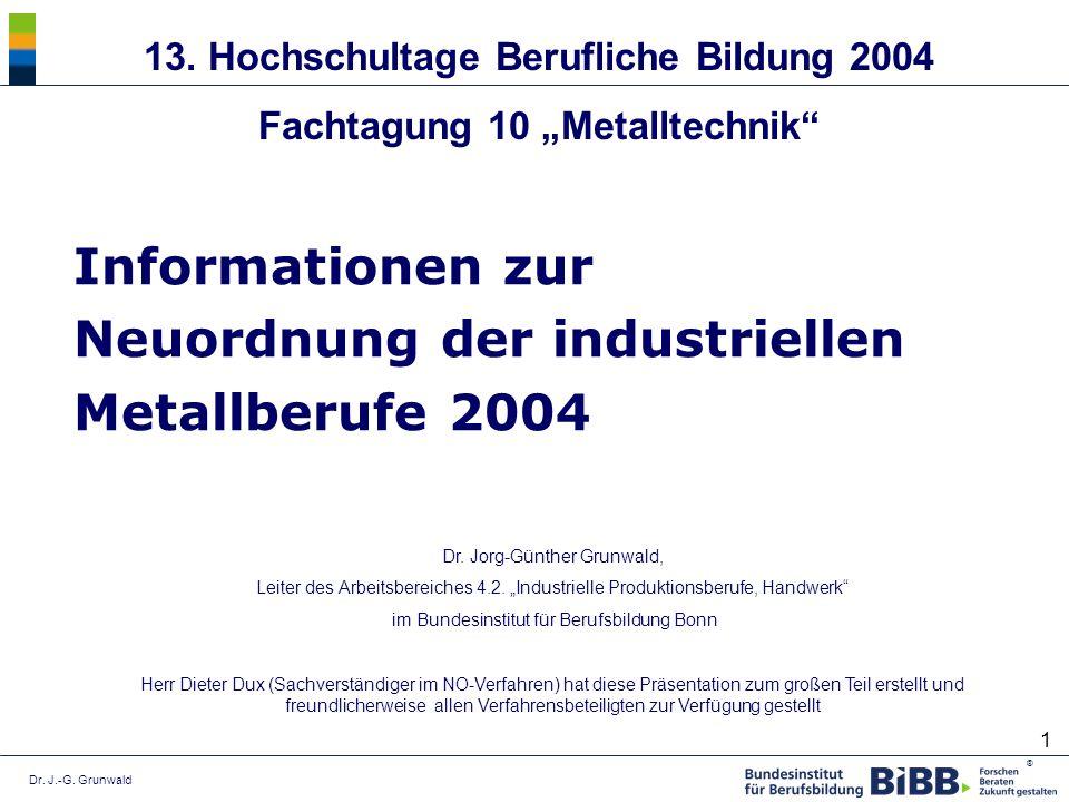 Dr. J.-G. Grunwald ® 1 Informationen zur Neuordnung der industriellen Metallberufe 2004 Dr. Jorg-Günther Grunwald, Leiter des Arbeitsbereiches 4.2. In