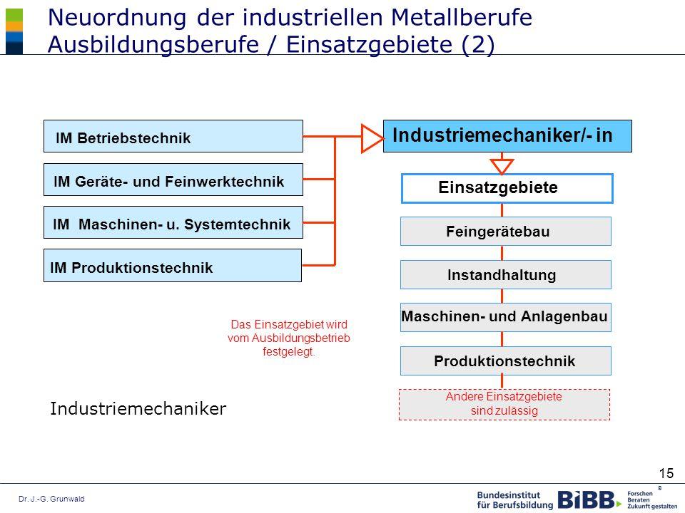 Dr. J.-G. Grunwald ® 15 Neuordnung der industriellen Metallberufe Ausbildungsberufe / Einsatzgebiete (2) Industriemechaniker IM Betriebstechnik IM Ger