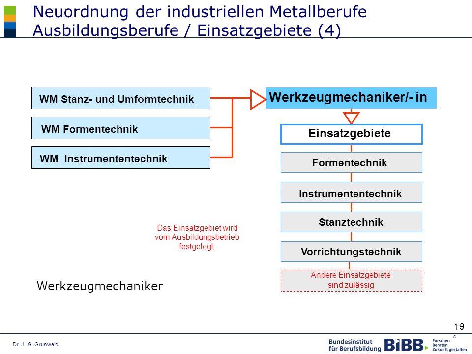 Dr. J.-G. Grunwald ® 19 Neuordnung der industriellen Metallberufe Ausbildungsberufe / Einsatzgebiete (4) Andere Einsatzgebiete sind zulässig Werkzeugm