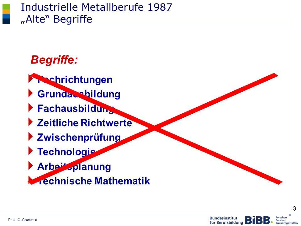 ® 3 Industrielle Metallberufe 1987 Alte Begriffe Fachrichtungen Grundausbildung Fachausbildung Zeitliche Richtwerte Zwischenprüfung Technologie Arbeit