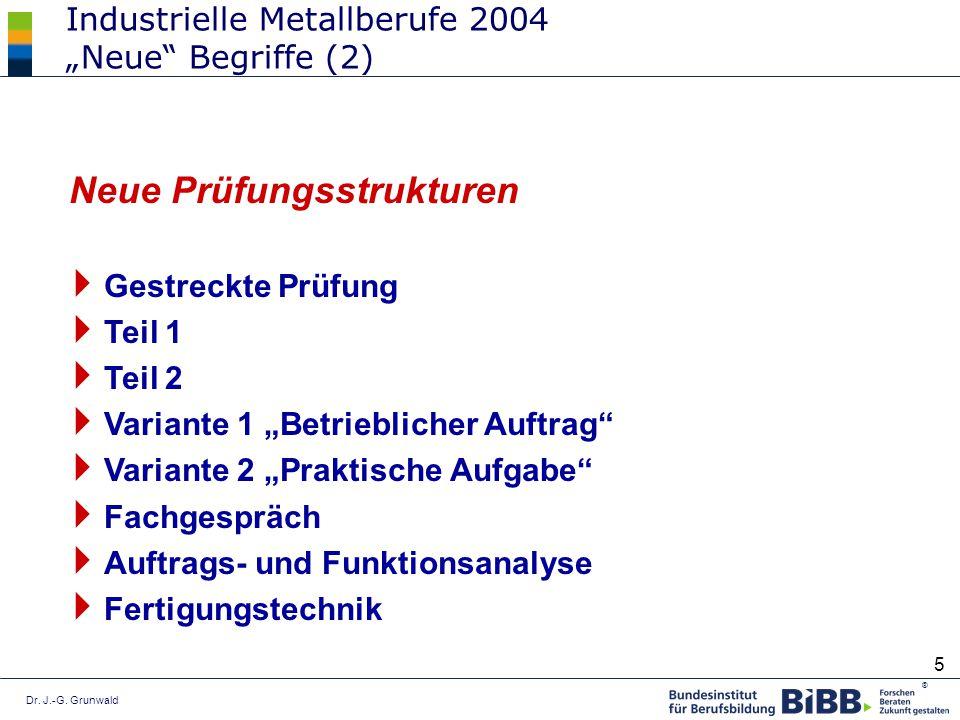 Dr. J.-G. Grunwald ® 5 Industrielle Metallberufe 2004 Neue Begriffe (2) Gestreckte Prüfung Teil 1 Teil 2 Variante 1 Betrieblicher Auftrag Variante 2 P