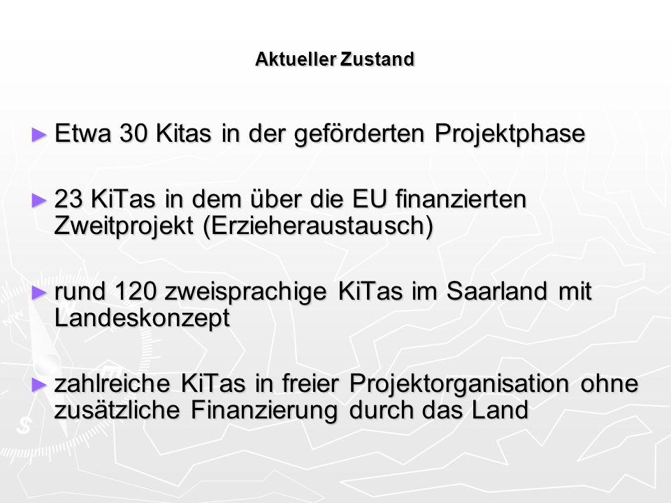 Aktueller Zustand Etwa 30 Kitas in der geförderten Projektphase Etwa 30 Kitas in der geförderten Projektphase 23 KiTas in dem über die EU finanzierten